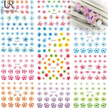 1 Sheet Blue/Pink/Red/Purple Flowers 3D Nail Stickers DIY Nail Art Stickers Simple Nail Decals E402-412(China)