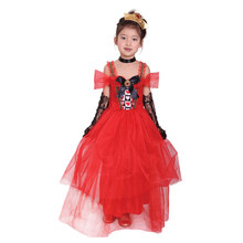 Heart Princess Costume Red Yarn Dress Girls Queen  Child Carnival  Fancy Dress Kids Halloween Cosply Costumes Clothing