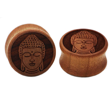 1 pair organic wood buddha saddle plug gauges ear plugs flesh tunnel body piercing jewelry WSP026