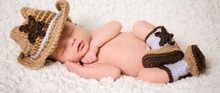 New Cowboy crochet baby hat & boots sets of hand-knitting baby hat props shooting