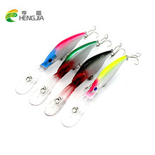 HENGJIA 1pc Long Mouth Minnow Wobblers Sinking Medium Diver Hard Fishing lure Bait 3D Eyes Crankbait fishing Tackle Treble Hooks
