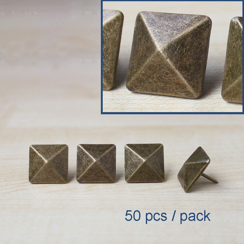 Decorative Nail For Furniture Leather Copper Pyramid Square Rivet Tack 3 4 19mm