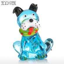 Tooarts Glass Animal Mini Dog Figurine Home Decor Modern Blue Squatting Dog Statuettes Home Decoration Accessories for Gift(China)