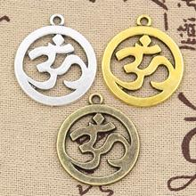 99Cents 3pcs Charms OM 25mm Hollow Antique charms,pendant fit,Vintage Tibetan Silver Bronze Gold,DIY bracelet necklace