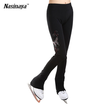 Customized ice skating long pants Figure Skating Costume fleece Pants Trousers Adult Child Girl Competition Rhinestone