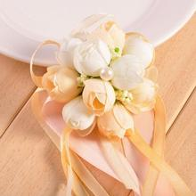 New Beautiful Bridal Bridesmaid Corsage Ribbon Wrist Flowers Wedding Supplies Bracelet Decor Petals Garlands Quality