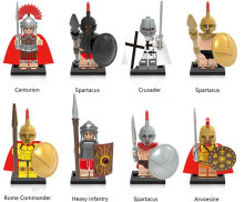 8pcs/lot Medieval Knights Centurion Crusader Roman Soldiers Model Building Blocks Compatible With lepin Bricks Toys