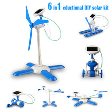 6in1 education DIY solar kit solar robot solar wheeler solar helicopter solar plane solar airboat solar Gift For Child boy gril