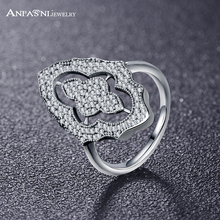 ANFASNI Fashion Real 925 Sterling Silver Ring Sparkling Lace Engagement Wedding Finger anel CZ Stone Zircon for Women PSRI0023-B
