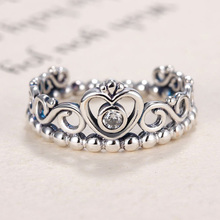 New Silver Plated Ring Princess Tiara Royal Crown With Crystal Rings For Women Wedding Party Gift Fine Jewelry