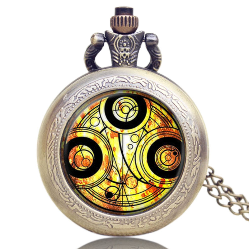 Antique Brozne Style Doctor Who Necklace Vintage Long Chain Pendant Pocket Watch Quartz Men Women Vintage Cool Small Gift<br><br>Aliexpress