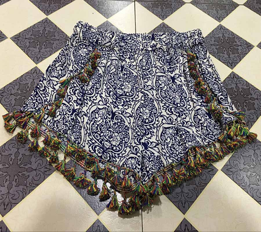 17 Summer Floral Pom Pom Ball Shorts Women Beach Tassel Bohemian National Wind Print Loose Women's Short Feminino Plus Size XL 10