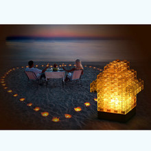 4 colors Creative DIY Toy Bricks Light Tetris light Building block Nightlight LED Light Constructible Desk Lamp DC/battery Power(China)
