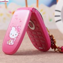 Flip Unlocked 2 Battery Cell Phone W88 Vibration 1.8''pretty Flashlight Small Woman Kid Girl Cute Hello Kitty Cartoon Mobile KUH(China)