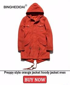 Preppy style orange jacket hoody jacket men fashion men hoodies casual multi pocket long length mens fashion quality jacekt