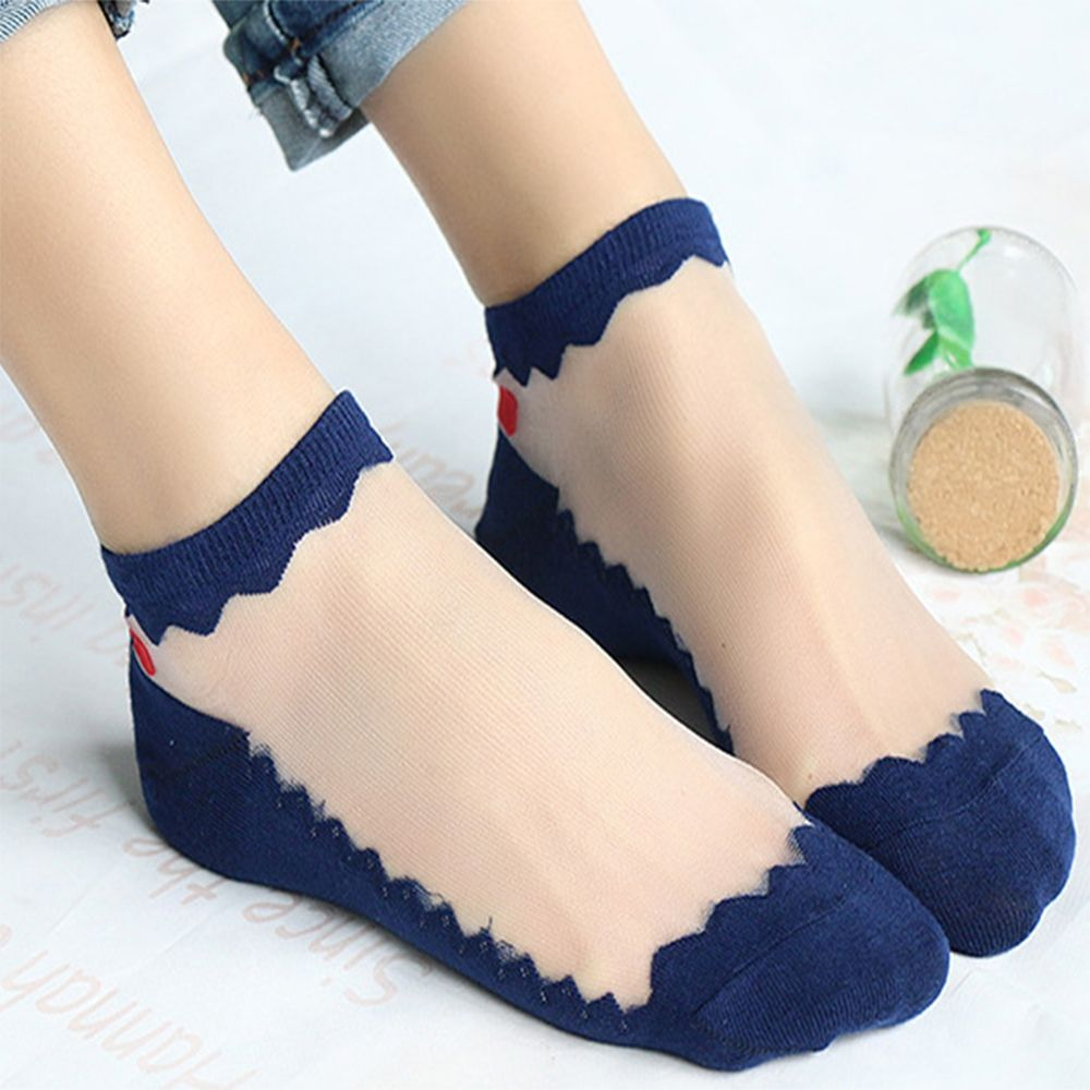 Leisure Jacquard Crystal Silk Boat Socks Women Thin Bow Glass Silk Ankle Socks