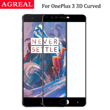 9H 0.3mm Full Cover 3D Edge Curved Fit Tempered Glass For One Plus OnePlus 3 Three 1+3 Glass Screen Protector Protective Film()