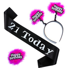18 21 happy nirthdday headband sash brooch fun joke game set tattoo stickers wedding Hen bachelorette event party sex products(China)