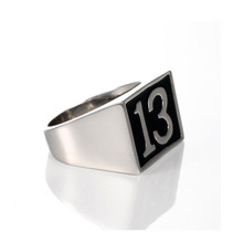 Valily Jewelry Digital 13 Ring Band Party Signet Style 316L Stainless steel Polishing Biker Fashion Cool Men Ring