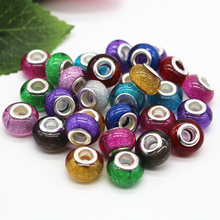 Hot Sale 14MM Mixed Colorful Glitter Powder Silver Cord Big Hole Beads Charms Fit  Jewelry Bracelet Findings 100pcs