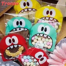 Buy Tronzo 100pcs/lot Funny Monster Candy Bag Easter Party Decoration Children Favor Plastic Cartoon Cookie Bags Wedding Decor for $1.29 in AliExpress store