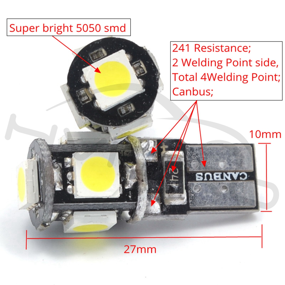 Hviero T10 Canbus White Blue Red 5smd 5050 Led Car Light W5w 194 168 Error Bulbs DC 12V Wedge Lamp Band Decoder Sign Trun Light