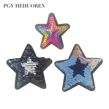PGY New Design Star Sequins Patches Sew Iron On for Appliqued Clothes  Stickers Fine DIY Sewing Garment T-shirt Coat Accessories 3a299bce12e6