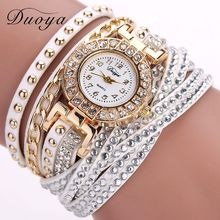 Duoya Brand Watches For Women Gold Fashion Bracelet Crystal Rhinestone Wristwatch Leather Casual Electronic Quartz Clock Watch