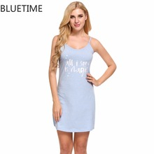 Female Letter Print Nightgown Sleep Lounge Summer Cotton Sexy Spaghetti Strap Nightwear Home Sleep Night Dress Women Clothes XXL(China)