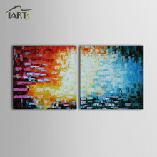 Iarts Handmade Geometric Figure Acrylic Painting Original Wall Art In Stock USA Fast Delivery Time 2 Sets Group ART Work(China)