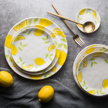 Chinese Porcelain Tableware Ceramic Dinner Plate Bowl Fish Soup Fruit Salad Lemon Plates Food Dessert Round Plate Dishes 046(China)