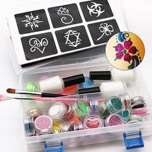 Tattoo Face Body Paint Set 118 Tattoo Patterns 6 Color Luminous Powder 24 Color Flash Powder Paint Brush and Glue Glowing Paint(China)
