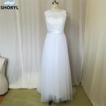 2017 New Lace O-Neck Lace Tulle Boho cheap Wedding Dresses Summer Beach Bridal Gown Bohemian Wedding Gowns robe de mariage