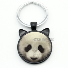 Cute monchichi Giant Panda glass photo keychain keyring vintage lucky animal fat panda men women key chain ring jewelry CN740