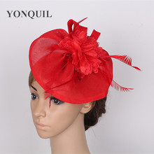 Red Fascinator hat with silk flower adorn headpiece feather hair accessories elegant women's party Occasion royal ascot Church