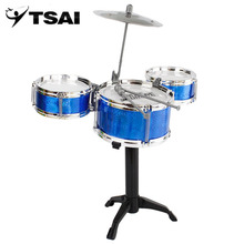 3-Piece Kids Drum Set Children Junior Drums Kit Simulation Jazz Drums Percussion Musical Instrument Wisdom Development Toys(China)