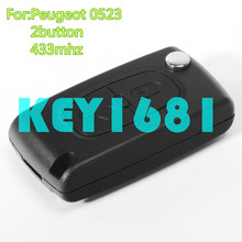 flip car key 2button remote control 433mhz pcf7941 ID46 chip for peugeot citrolet c3 uncut blade with groove(China)