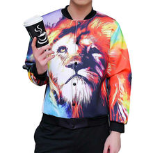 11 11 2016 Hot Sale Bomber Jackets Animal Lion Print Coats Tie Dye Style Chaqueta Homme Long Sleeve Autumn Winter Men's Clothing