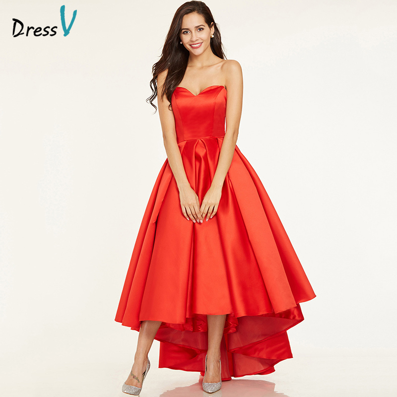 Dressv red a line prom dress cheap elegant sample sweetheart neck sleeveless asymmetry ruched wedding formal party prom dresses