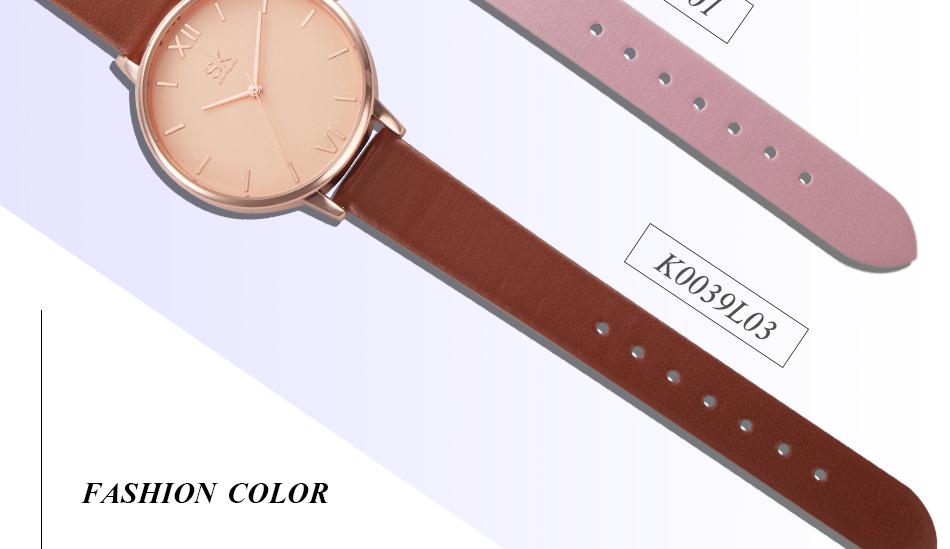 ساعة نسائية حزام جلد أنثى كوارتز الوان جميلة 10