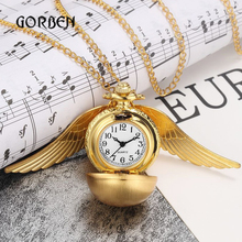 Mini Golden Snitch Pocket Watch Gift Box Luxury Wings Ball Vintage fob Watch Necklace long Chain Pendant Quartz Relogio De Bolso
