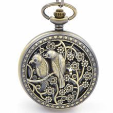 H261 bird Case Men's watch Skeleton Engraved Hand Winding up Mechanical Pocket Watch with Chain Nice Gift watch for men