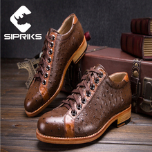Sipriks luxury embossed ostrich leather mens goodyear dress shoes latest elegant mens polka dot official shoes boss casual shoes