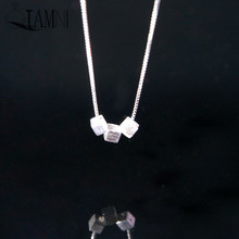 QIAMNI 925 Sterling Silver Three Box Cube Geometry Minimalist Pendant Choker Necklace Women Girl Accessories Party Birthday Gift(China)