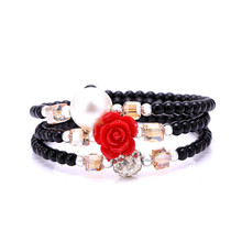 Hot sale Bohemia type elastic multilayer colored beaded charm bracelet flower rhinestone charm bangle summer gift For Women(China)
