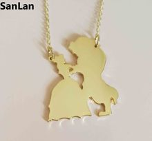vintage korea ladies movie Beauty and the Beast Necklace gold  Beauty and the Beast Jewelery Pendant Necklace gift Woman  SanLan