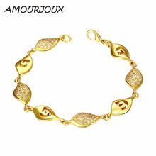 AMOURJOUX Elegant 3 Styles Gold Color Waterdrop Charm Bracelets & Bangles With Clear CZ Female Clasp Bracelet Jewelry Woman Gift