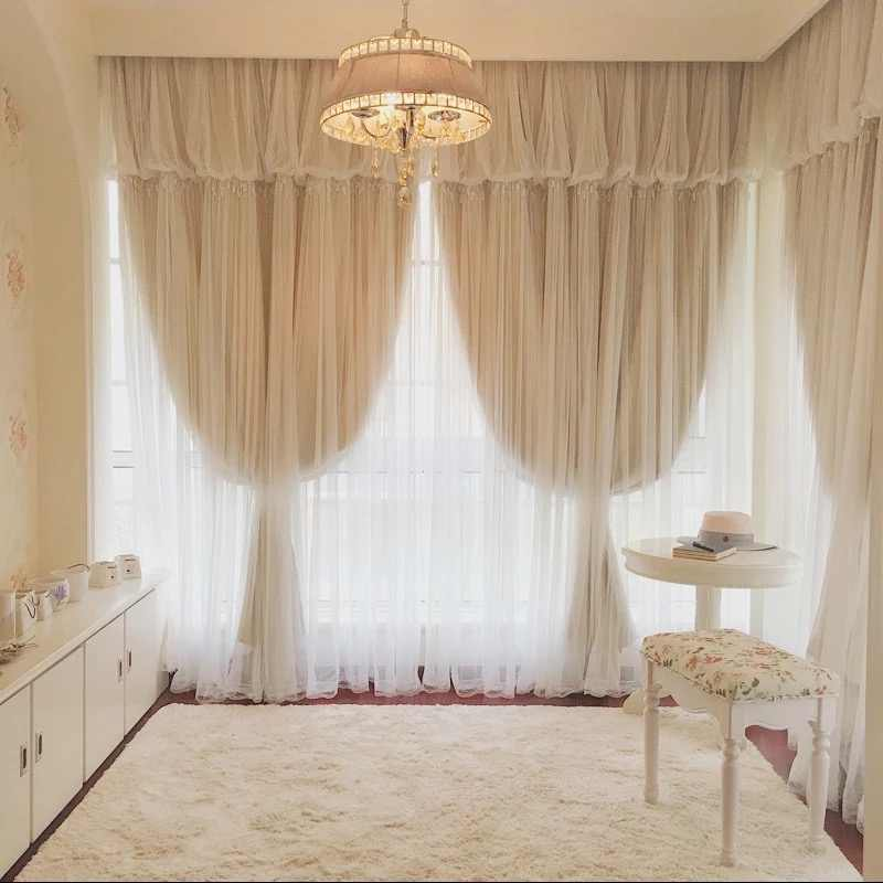 1piece 2layers cloth+tulle curtains for living room, white Lace voile decoration and blackout beige fabric for window curtain
