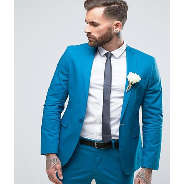 Custom Made Groomsmen Groom Tuxedos 2019 Blue Men Suits Notch Lapel Best Man 2 pieces Wedding Blazer ( Jacket+Pants+Tie )