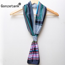 Gonzetank 2017 Spring New Womens Beautiful Chiffon Scarves Double Small Silk Satin Necklace Light Embroidered Retro Scarf